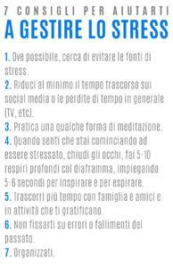 Elenco di 7 consigli per gestire lo stress