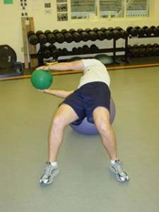 Stability Ball / Medicine Ball Russian Twist - Finish (right)