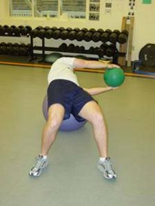 Stability Ball / Medicine Ball Russian Twist - Finish (left)
