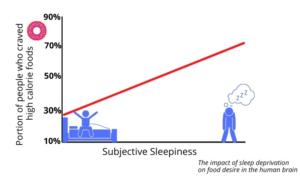 Grafico che mostra il rapporto tra la privazione del sonno e il desiderio di cibo